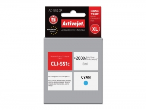 Tusze ActiveJet Canon CLI-551C 8ml CYAN